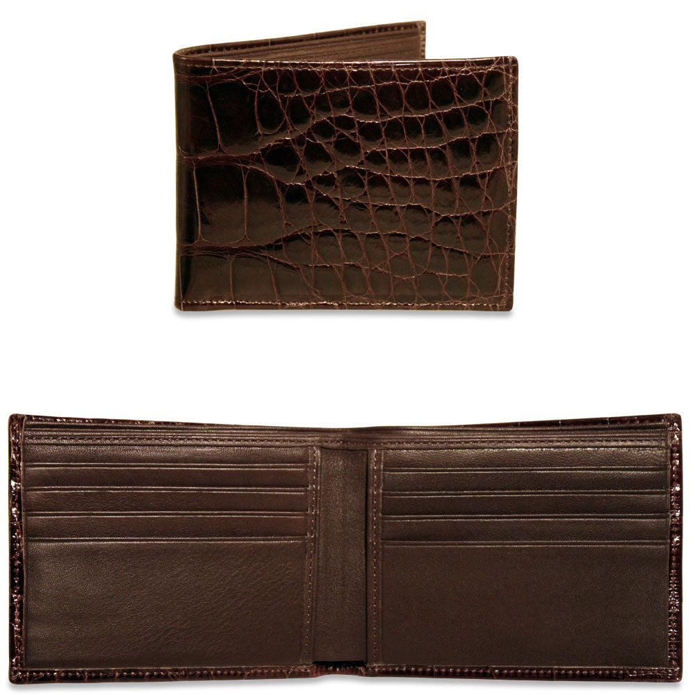 American Alligator Classic Bi-Fold Wallet #AL701 Brown