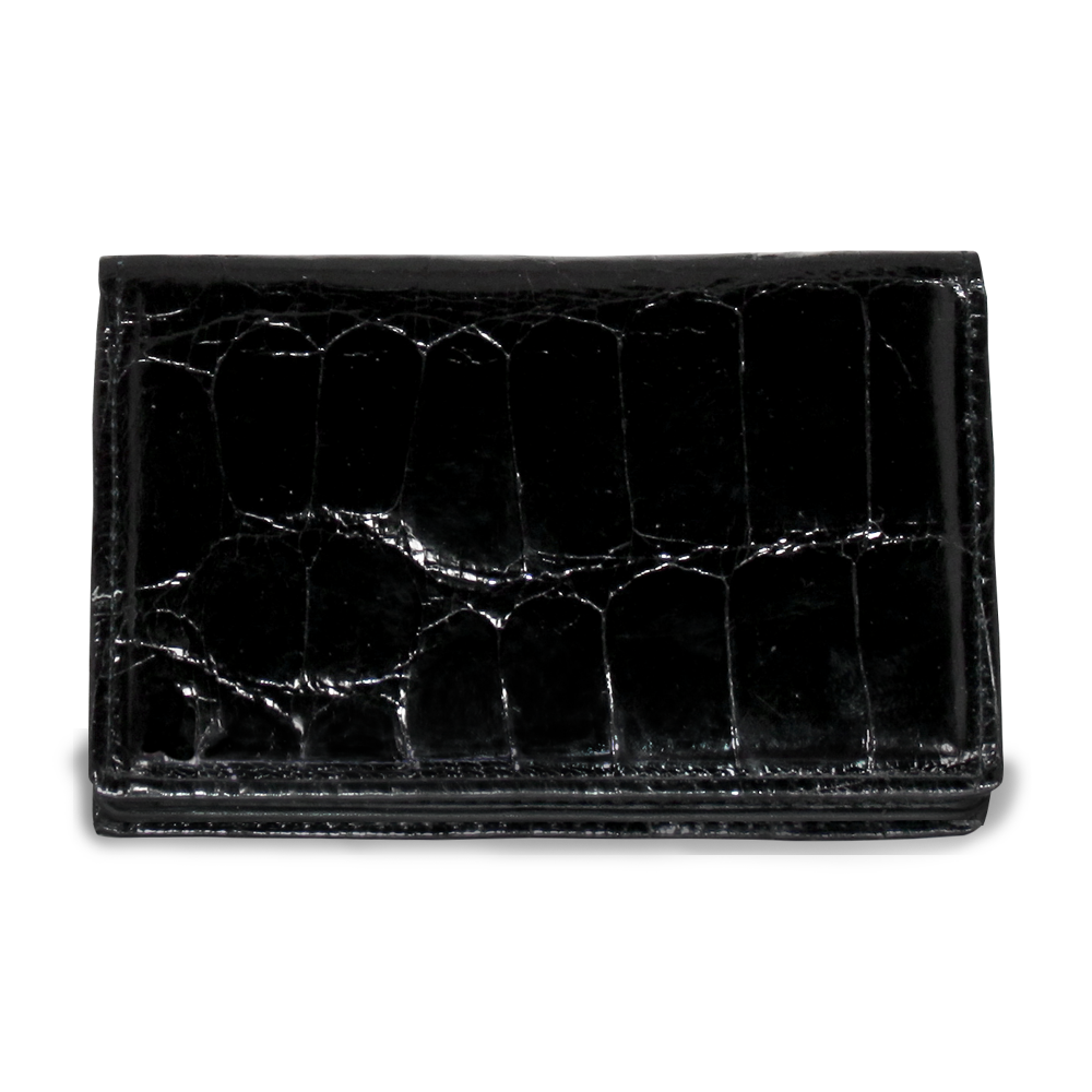 Jack Georges American Alligator Brown Business Card Holder #AL706 (Open and Closed)
