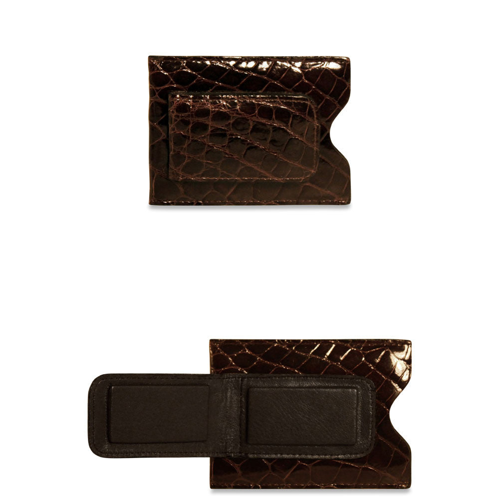 American Alligator Card Holder w/Money Clip #AL710 Brown