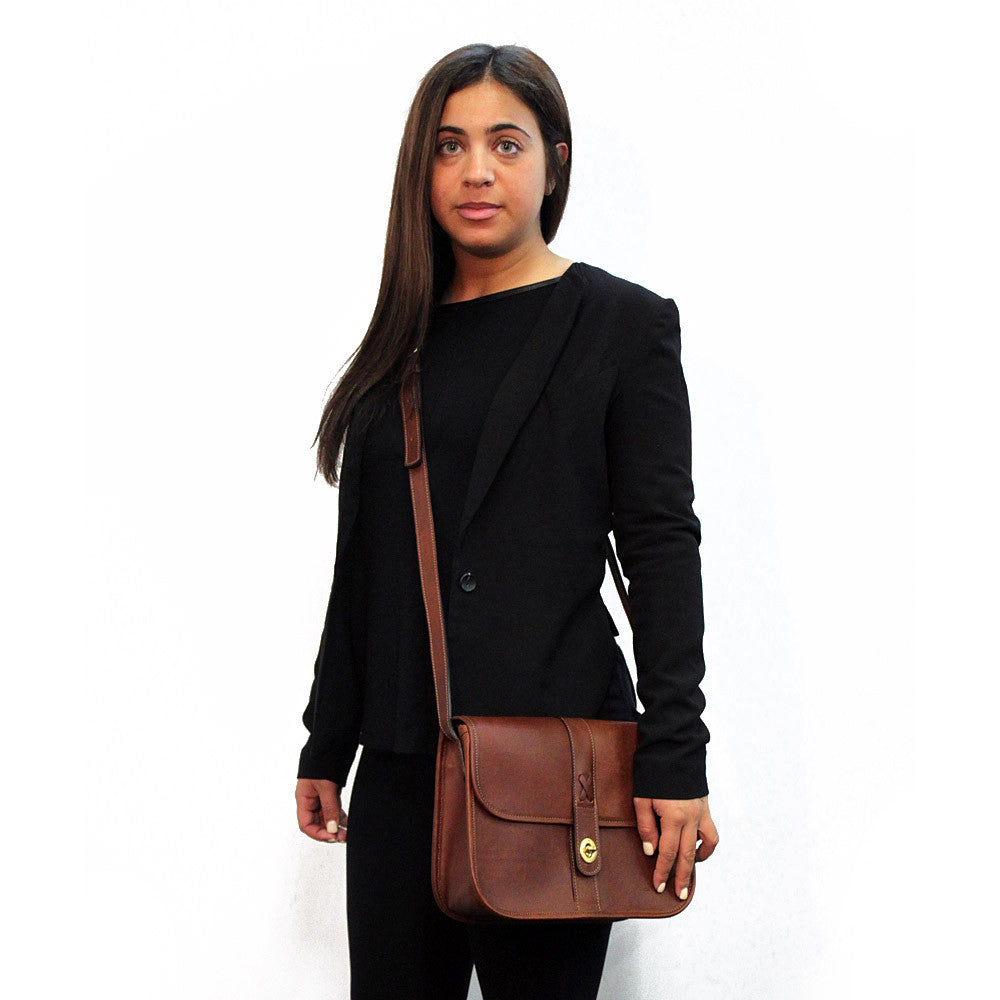 Belmont Collection Flapover Handbag #B2648 Cognac Front Face