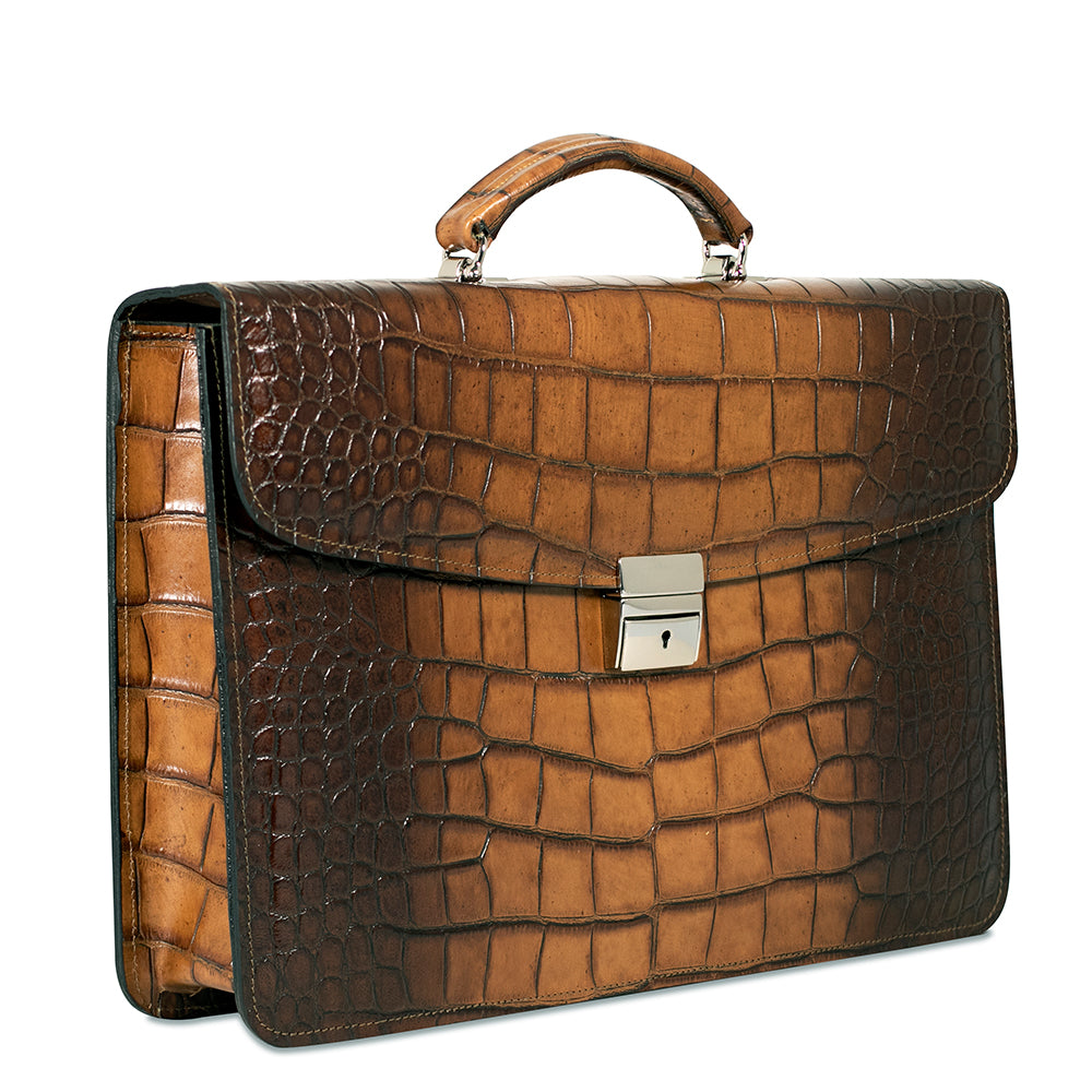 Hand Brushed Croco Slim Briefcase #K401