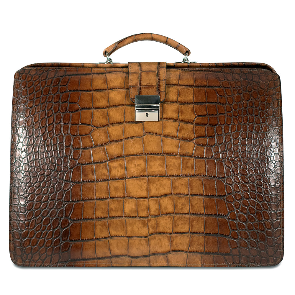 Croco Classic Leather Briefbag #K505