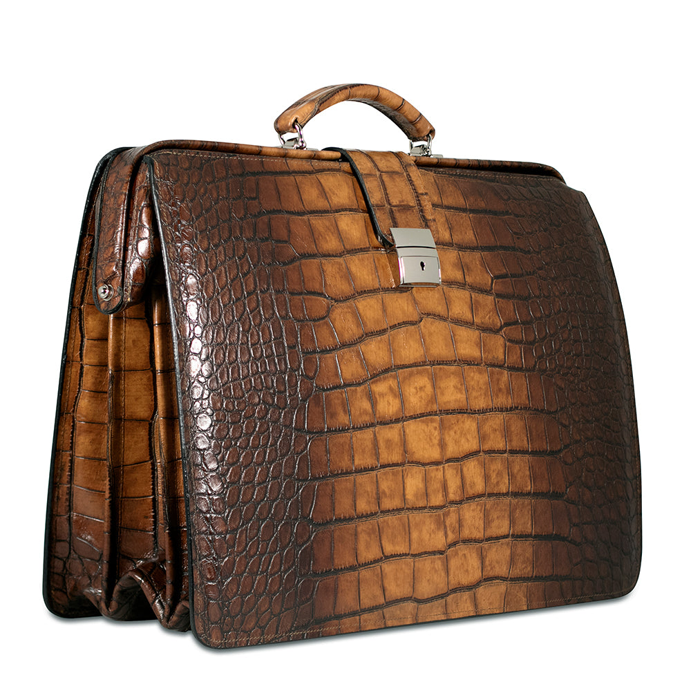 Hand Brushed Croco Classic Leather Briefbag #K505