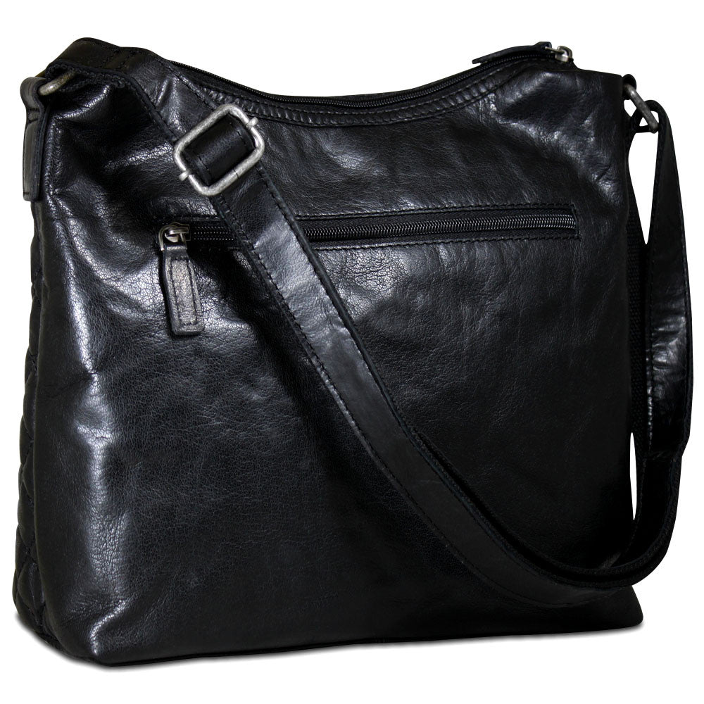 Jack Georges Quilted Hobo #Q613 Black Front Right Side