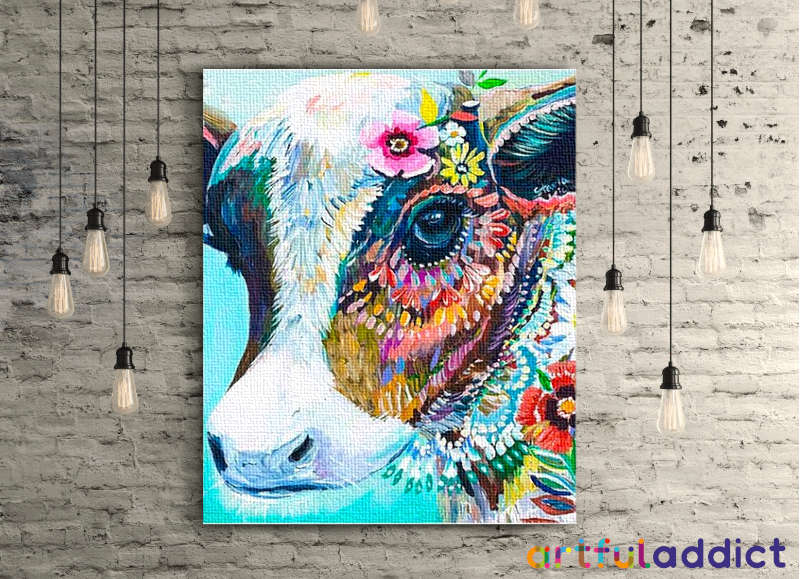 Floral Cow - Artful Addict Paint By Numbers Kits