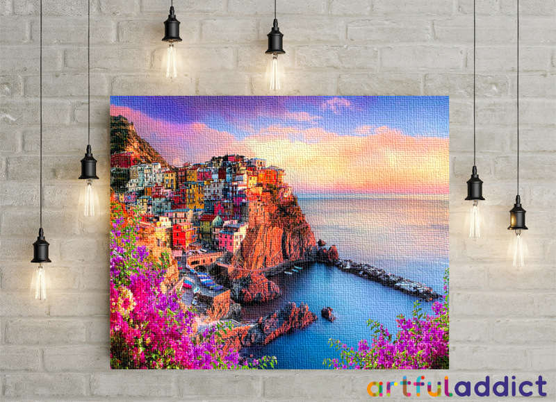 Sunset At Cinque Terre - Artful Addict Paint By Numbers Kits