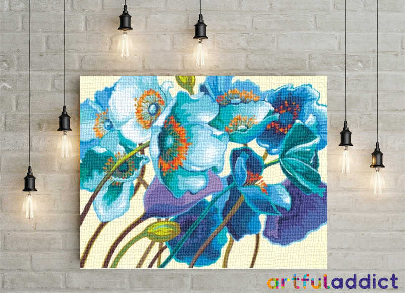 Blue, Green & Purple Arrangement - Artful Addict Paint By Numbers Kits
