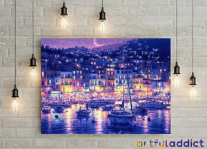 Boats And Evening City Lights - Artful Addict Paint By Numbers