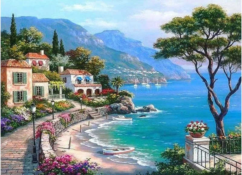Mediterranean Seaside Town - Artful Addict Paint By Numbers Kits