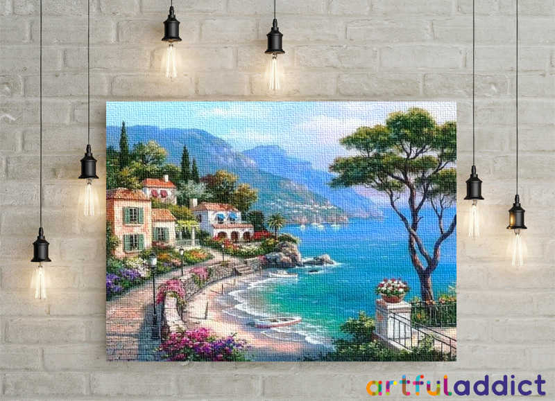 Mediterranean Seaside Town - Artful Addict Paint By Numbers
