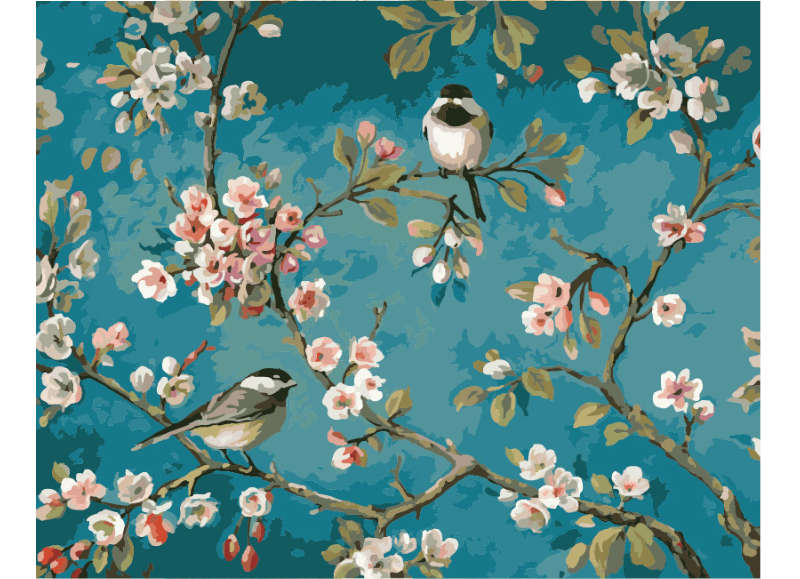 Sparrows and Blossoms - Artful Addict Paint By Numbers Kits