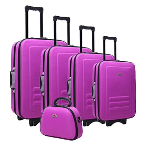 5pc Suitcase Trolley Travel Bag Luggage Set Purple
