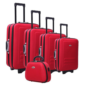 5pc Suitcase Trolley Travel Bag Luggage Set Red