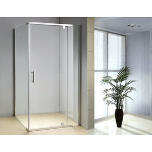 1200 x 900 x 1900mm Framed Safety Glass Pivot Door Shower Screen in Chrome