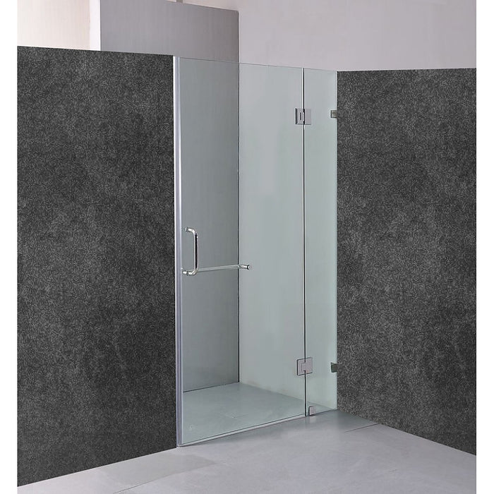 90 x 200cm Wall to Wall Frameless Shower Screen in CHROME Hardware with ROUND Handle