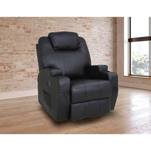 Black Massage Sofa Chair Recliner 360 Degree Swivel PU Leather Lounge 8 Point Heated
