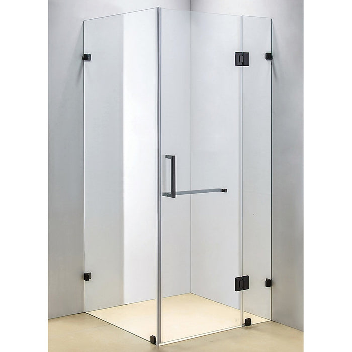 90 x 90cm Frameless 10mm Glass Shower Screen By Della Francesca Black Hinges/Brackets and Square Handle