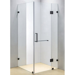 90 x 90cm Frameless 10mm Glass Shower Screen By Della Francesca Chrome Hinges/Brackets and Square Handle