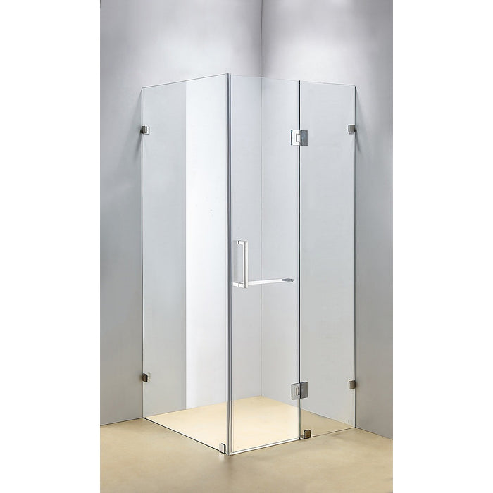 120 x 90cm Frameless 10mm Glass Shower Screen By Della Francesca CHROME Hinges/Brackets and SQUARE Handle