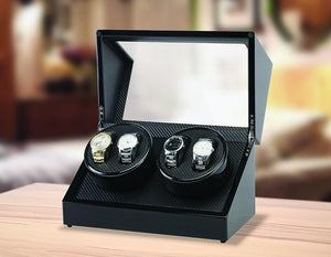 Automatic Quad Watch Winder Wood Display Box Case Motor Rotation Storage