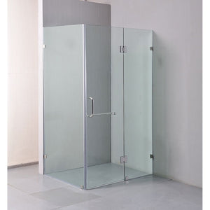 110 x 90cm Frameless 10mm Glass Shower Screen By Della Francesca CHROME Hinges/Brackets and ROUND Handle