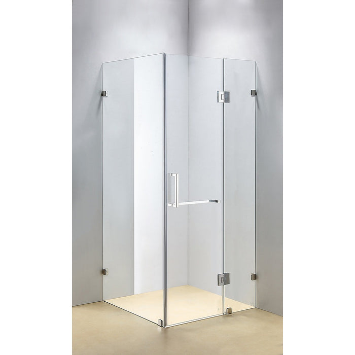 110 x 90cm Frameless 10mm Glass Shower Screen By Della Francesca CHROME Hinges/Brackets and SQUARE Handle