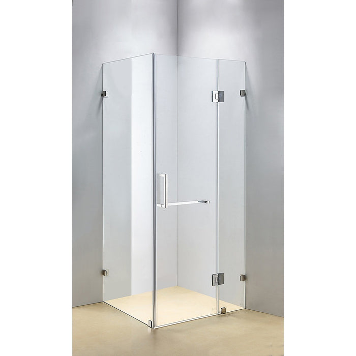 90 x 70cm Frameless 10mm Glass Shower Screen By Della Francesca CHROME Hinges/Brackets and SQUARE Handle
