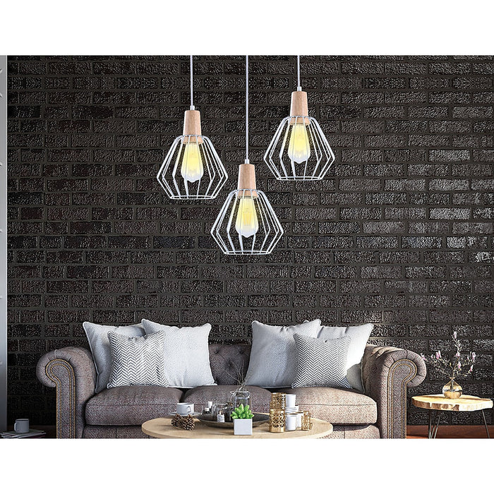White Wood Pendant Light Bar Lamp Kitchen Lighting Modern Ceiling