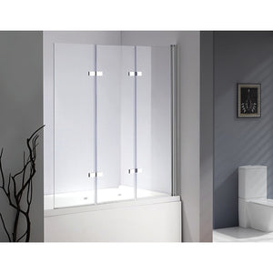 3 Fold Chrome Folding Bath Shower Screen Door Panel - 130 x 140cm Right
