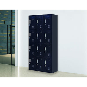 Black 12-Door Locker for Office Gym Shed School Home Storage - Padlock-operated