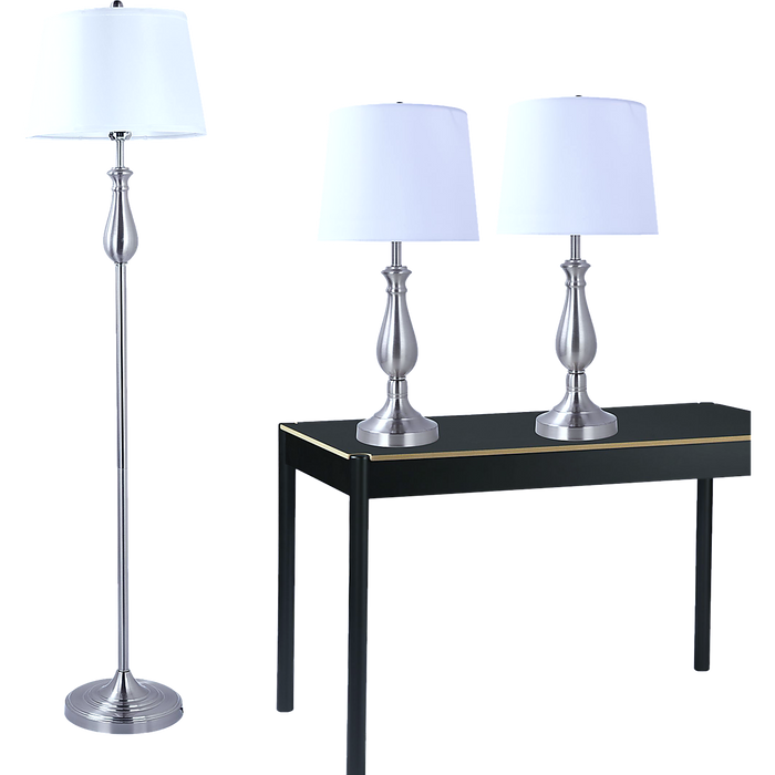 3-Piece Lamp Set with Nickel Finish for Modern Home