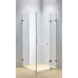 100 x 90cm Frameless 10mm Glass Shower Screen By Della Francesca CHROME Hinges/Brackets and SQUARE Handle