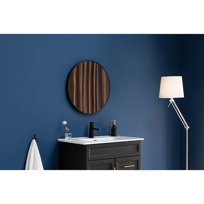 80cm Round Wall Mirror Bathroom Makeup Mirror by Della Francesca - Black