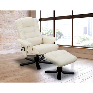 PU Leather Massage Chair Recliner Ottoman Lounge Remote - Cream
