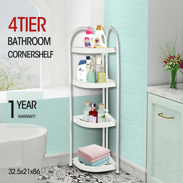 Shower Corner Shelf White Caddy Bathroom Shelves Organiser Bath Storage Rack 4