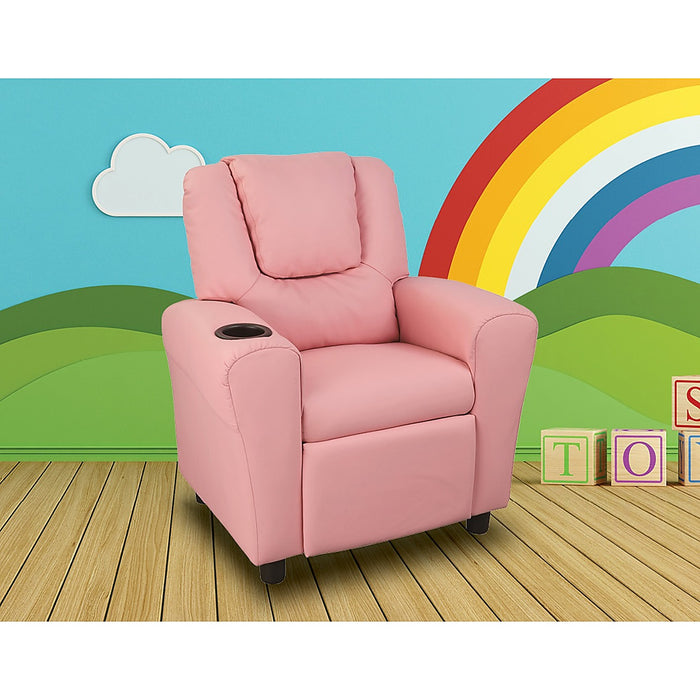 PU Leather Kids Recliner with Drink Holder - Pink