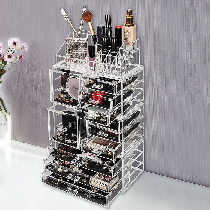 11 Drawers Clear Acrylic Cosmetic Jewellery Luxury Organiser