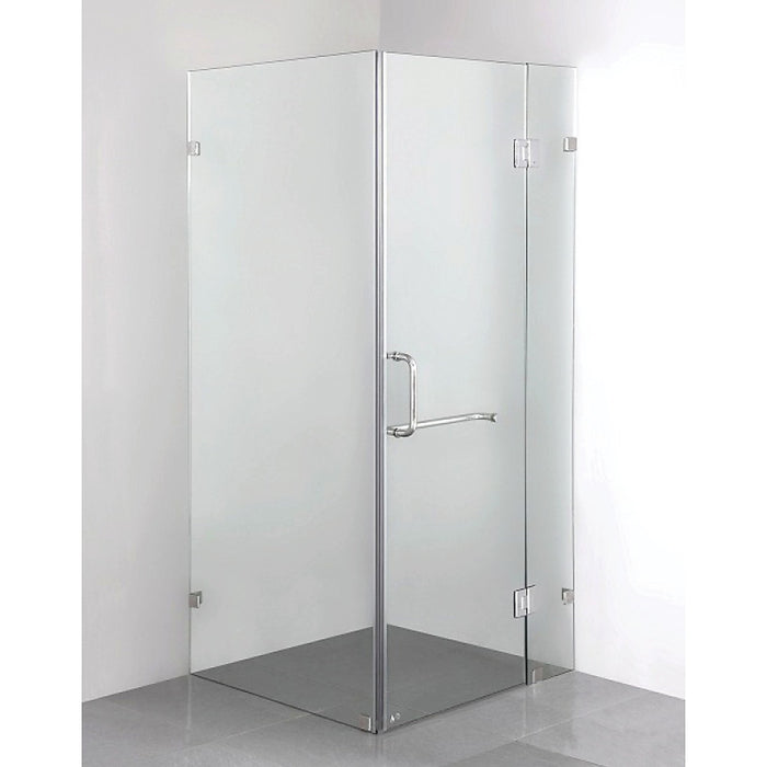 90 x 90cm Frameless 10mm Glass Shower Screen By Della Francesca Chrome Hinges/Brackets and Round Handle