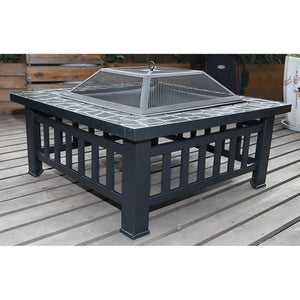 "18"" Square Metal Fire Pit Outdoor Heater"