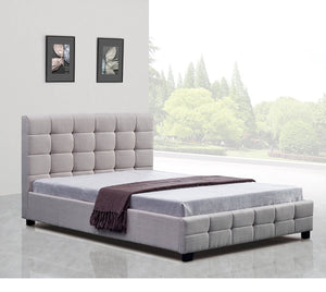 Double Beige Linen Fabric Deluxe Bed Frame