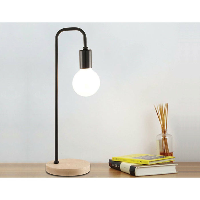 Modern Black Table Lamp Desk Light Timber Base Bedside Bedroom