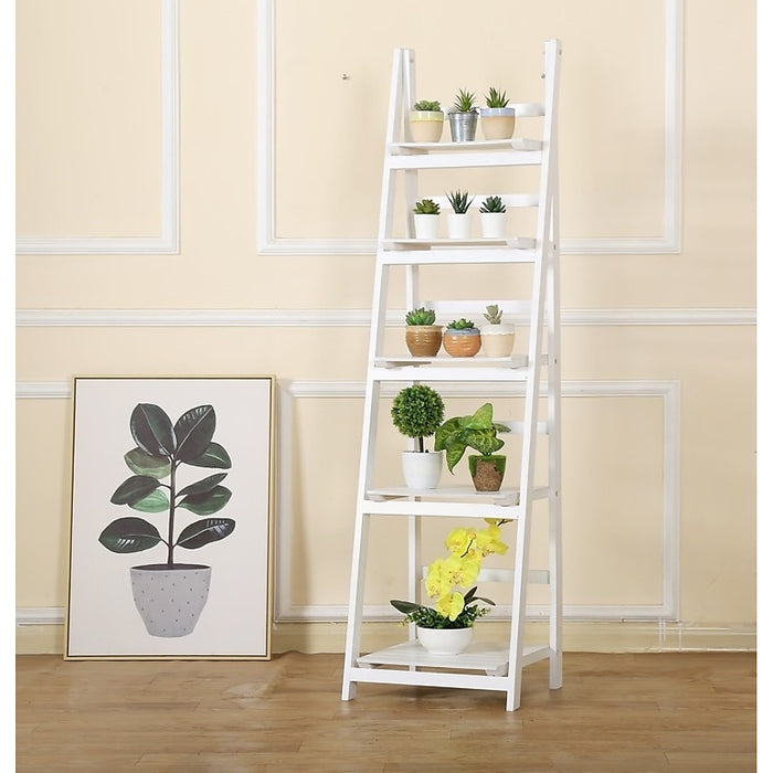 5 Tier Wooden Ladder Shelf Stand Storage Book Display Rack - White