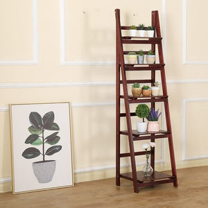 5 Tier Wooden Ladder Shelf Stand Storage Book Display Rack - Coffee