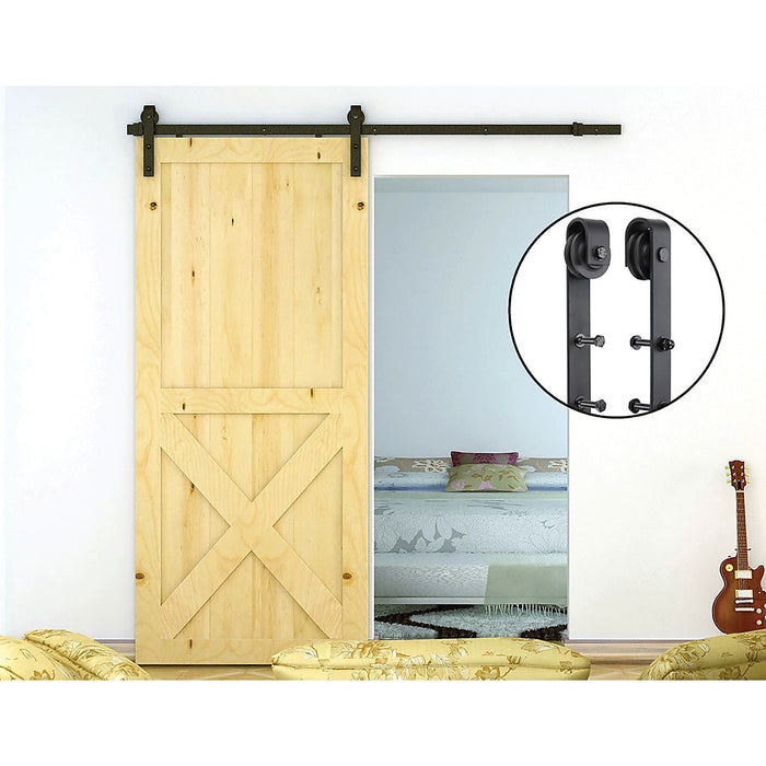 1.8m Black Sliding Barn Door Hardware