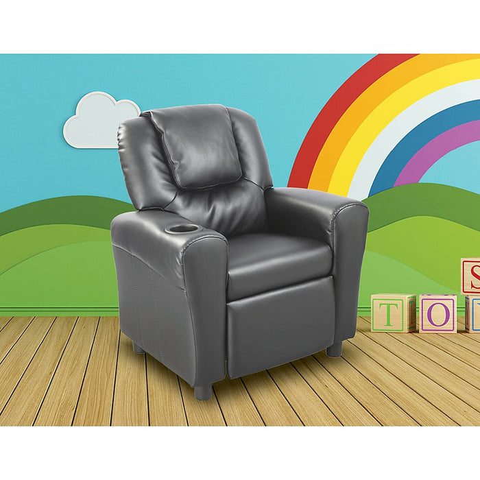 PU Leather Kids Recliner with Drink Holder - Black