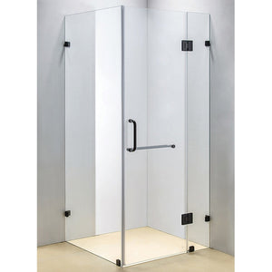 90 x 90cm Frameless 10mm Glass Shower Screen By Della Francesca Black Hinges/Brackets and Round Handle
