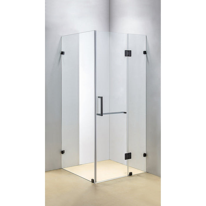 100 x 90cm Frameless 10mm Glass Shower Screen By Della Francesca BLACK Hinges/Brackets and SQUARE Handle