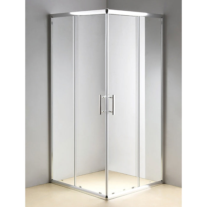 900 x 900mm Sliding Door Nano Safety Glass Shower Screen in Chrome