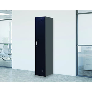 Black One-Door Office Gym Shed Clothing Locker Cabinet - Standard Lock with 2 Keys
