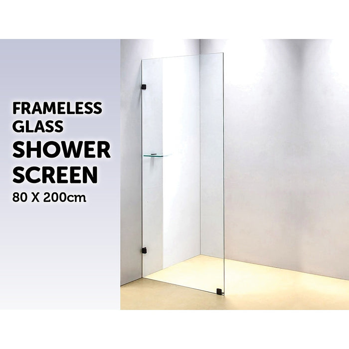 80 x 200cm Frameless 10mm Safety Glass Shower Screen Brackets: BLACK